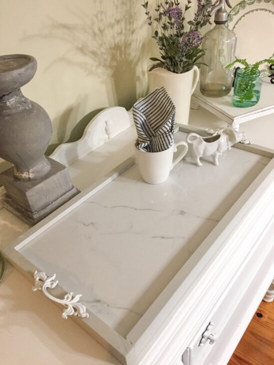 diy cararra marble tray from tile